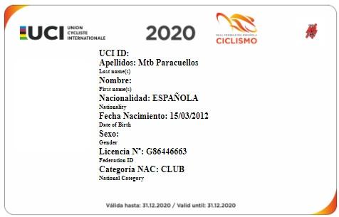 Licencia Club MTB PARACUELLOS anverso