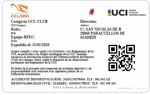 Licencia Club MTB PARACUELLOS Reverso